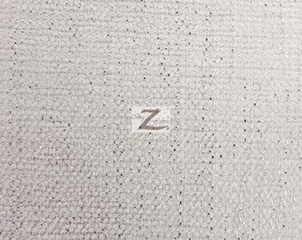 "Sparkle Chenille Upholstery Fabric - WHITE - 57"" Width Sold By The Yard"