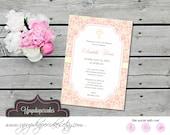 Baptism Invitation--Baby Girl Posh Invitation, Invite--Baby Shower, Christening--Digital File--Printable