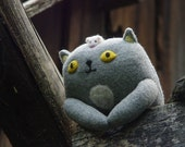 Cat With a Mouse on the head, stuffed cat, plush cat toy