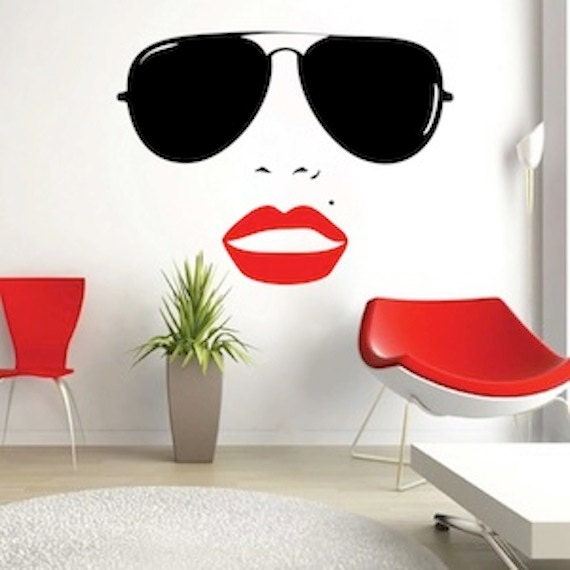 Wall Art Stickers Eyes : Vogue girl wall decal home decals eyes