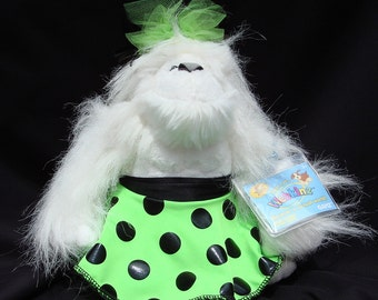 White Snow Yetti Webkinz with Lime Skirt and matching headdress. NWT. Why give boring roses...reward your dancer with a  WEBKINZ