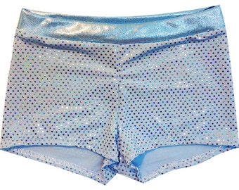 Baby Blue Mystique Ultimate Dance Shorts - Spandex Dance Shorts Comfortable and Stylish. All Sizes Available