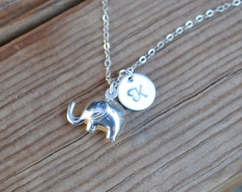 Puffy elephant necklace, sterling elephant with initial, baby elephant necklace, silver puffy elephant, initial necklace