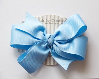 Big Boutique Bow - Light Blue - Girl Bow - Hair clip - Large Ribbon Bow - Big Hair Bow - Toddler, Girl Ribbon Hair Bow