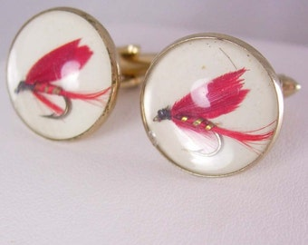 Fly Fishing Cufflinks Vintage Real Hand Tied Hook Tackle Sportsmen Dad Fishermen Advertising cuff links retirement gift jewelry