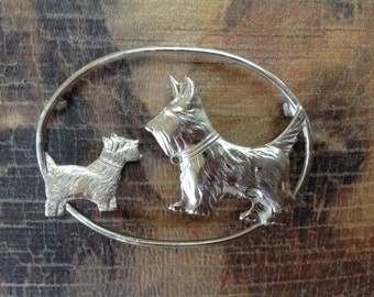 Sterling Silver Pin with Two Scottie Dogs