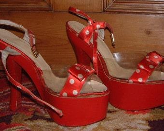 40's open toe high heel polka dot clear perspex platform shoes swing era rockabily