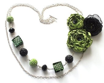 Green and black Statement Flower Fabric Necklace, Unique Jewelry, Two tiered Necklace, Fabric Flower Necklace, *Handmade