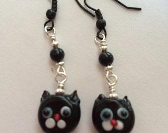 Black Kitty Kat Earrings