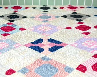 Antique Hand Quilted Quilt in Red and Blue - Snowflake Variation