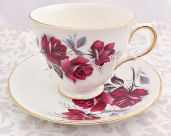 Sale***Vintage china Red Rose Tea duo, Queen Anne