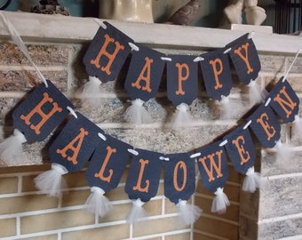 Happy Halloween Banner, Cream Orange and Black Banner, Halloween Decoration, Halloween Sign, Halloween Party Decoration,  Trick or Treat