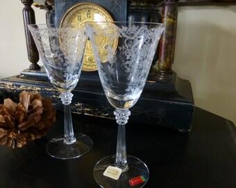 Fostoria Romance Water Goblet Glass set of 6 c 1942