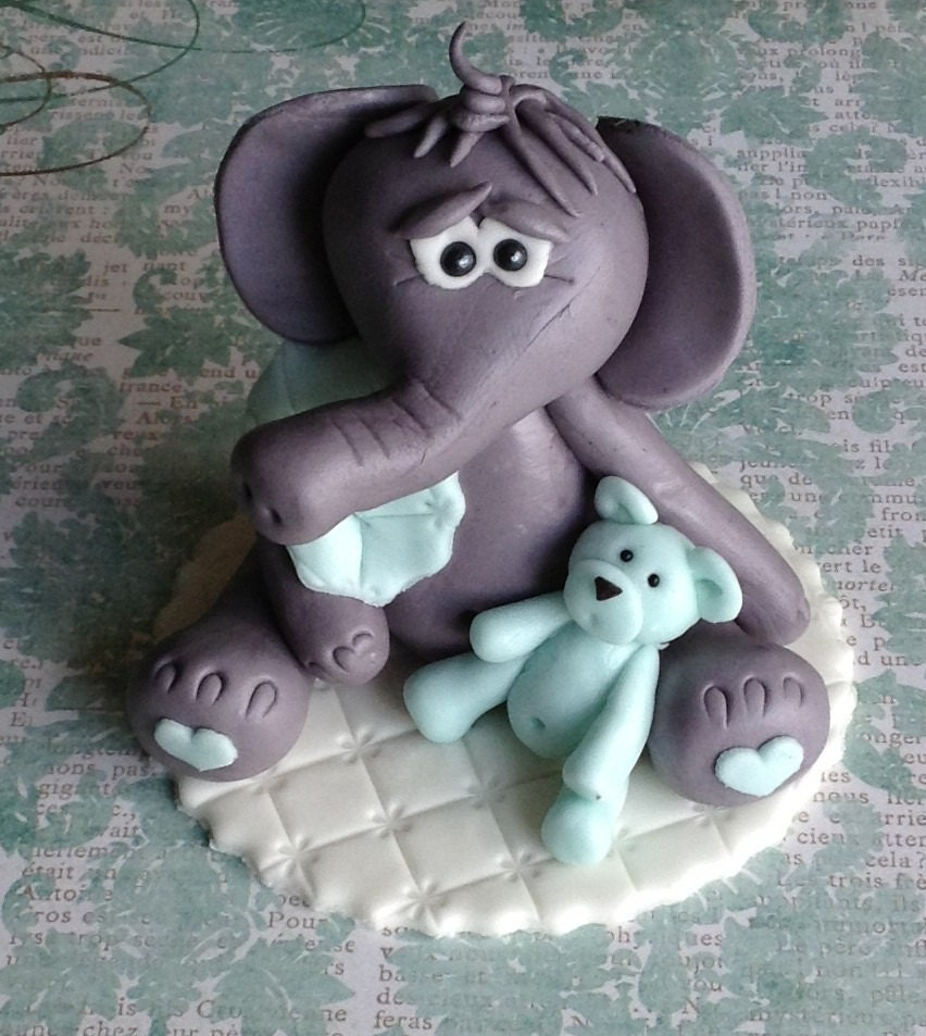 Edible Elephant Cake Decorations : EDIBLE ELEPHANT CAKE Topper Fondant Baby Shower Elephant