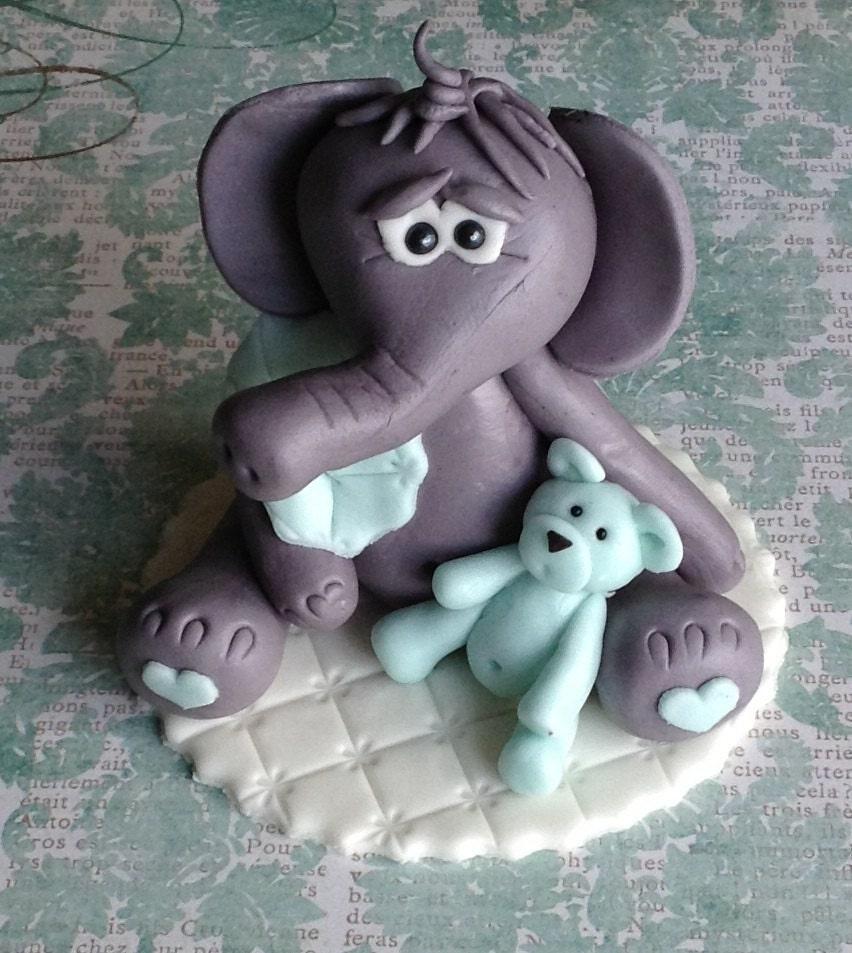 EDIBLE ELEPHANT CAKE Topper Fondant Baby Shower Elephant