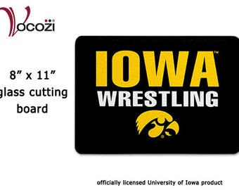 "Iowa Hawkeye Wrestling Glass Cutting Board  - 11""x8"""