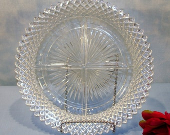 Miss America Crystal Depression Glass Relish Plate, 4 part, 8 inch