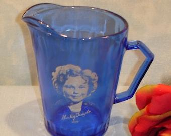 Shirley Temple Cobalt Blue Depression Glass Pitcher by Hazel Atlas