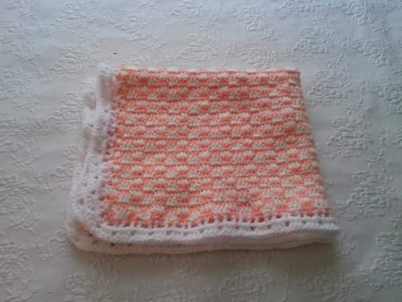 Checkerboard Baby Blanket -- Sherbet and White