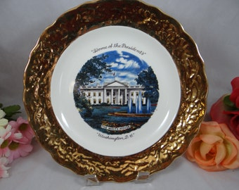 "22K  Sabin 22K Gold Encrusted Vintage 1950s Display Plate ""Home of the Presidents - The White House Washington D.C."""