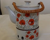 Poppies Teapot with lid and warmer-item #00142