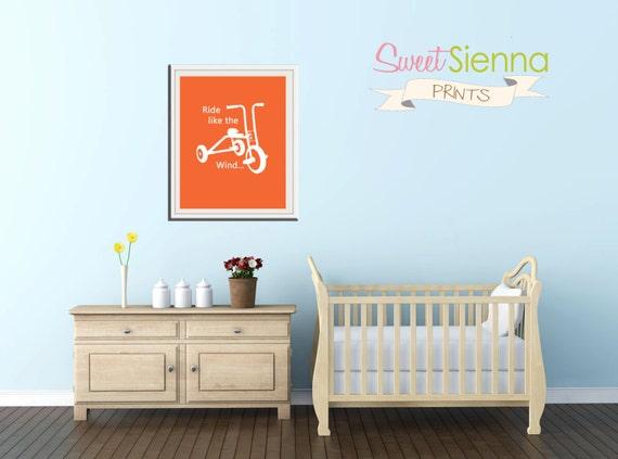"Bike nursery print ""Ride like the wind"" Bike Nursery decor, baby nursery art. Nursery Wall art, silhouette - typographic print, 11x14"" PDF"