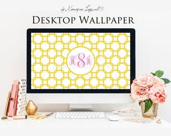 Yellow Trellis Monogram Desktop Wallpaper