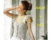 Digital Download Vintage Crochet Ruffle & Ribbon Straps Camisole - Sweet and Lacy Summer Top