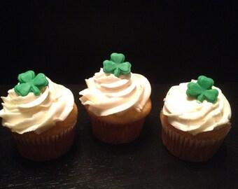 St. Patrick's Day Shamrock Fondant Cupcake Toppers