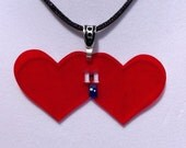 Red I Heart Heart the 11th Doctor Shrink Art Necklace