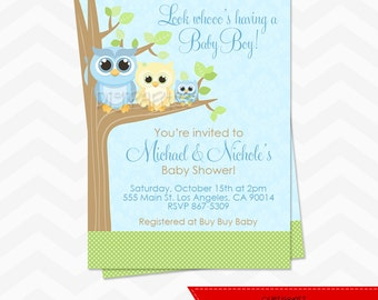 Boy Owl Baby Shower Invitation