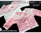 Crochet Pattern, Cardigan Sweater, Pearls and Lace Newborn to 6 months  PDF 14-138