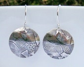 Sterling Silver Abstract Textured Dangle Earrings, Lightweight Metal Domed Disk Earrings with Freeform Pattern, Crazy Quilt Design