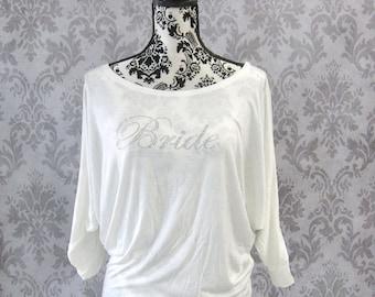 Custom Off Shoulder Bride Shirt. Bridal Party Sweatshirts. Bride Off the Shoulder Sweatshirt. Bride Gift. Bachelorette Party Shirt