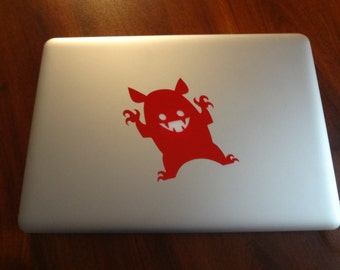 2 Monster Apple Symbol Decal MacBook Pro 13 inch Air PC Laptop 11 15 17 Decal Sticker Halloween Decor PC Scary Monster