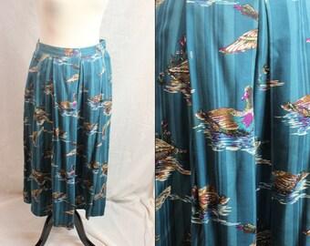 1960s Blue Mallard Duck Bird Knee Length Soft Skirt Large