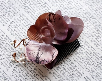 Beach wedding hairpiece, Bridal hair comb, Dusty headpiece, Tropical wedding, Orchid hair accessories, Orchid headpiece, Wedding flowers
