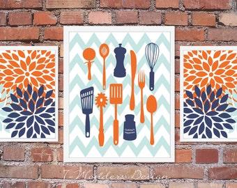 Kitchen Art Prints - Cooking is Happiness - Utensils, Chevron, Flower Bursts Wall Art, Set of 3 Orange, Blue and Light Rain blue Unframed