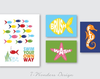 Kids Bathroom Decor Art Prints for Girls Boys, Swim Your Own Way, Brush, Wash, Flush, Set of (4) 11 x 14 and 5 x 7's // Childrens Bathroom