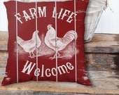 """Throw Pillow Cover / case Zippered 18""""x18"""" Farm Welcome sign on Country Red Painted Slatted Fence Farmhouse Print Art  SUPER Luxurious Soft!"""