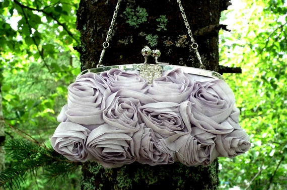 Clutch evening handbag • Lilac mauve violet color • Vintage heart button •