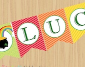 Instant Download: DIY Printable Banner- Lucky Banner - Holiday -Non Personalized Banner -St Patrick's Day -Pot of Gold -Rainbow -Colorful