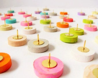 Twelve Wood colorpalooza thumb tacks  Push pins made of painted maple wood.