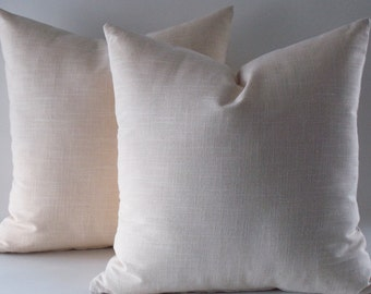 Set of 2 / Natural Linen Pillow Cover,Rav Linen, Linen Throw pillow, Decorative Pillow cover