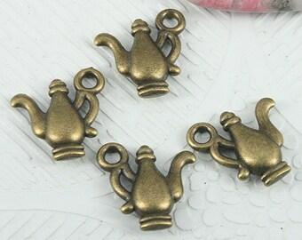 26pcs antiqued bronze color plain teapot design charms EF0853