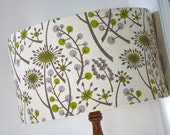 Handmade drum lampshade white green grey Woodland floral uk