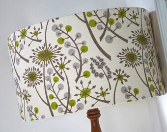 Handmade drum lampshade white green grey Woodland floral uk