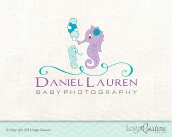 Premade SeaHorse Logo Design - Your Name - Baby Photography - sea - Bubbles - Logo for a Photography Business