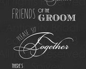 Friends of the Bride, Friends of the Groom Seating Sign - Unmounted Print - 20x30