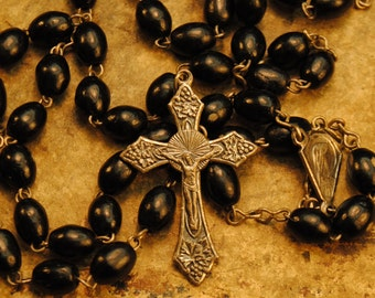 BLACK GLASS ANTIQUE Rosary lovely delicate antique glass rosary black with Mother Mary charm  22 inches with 5  inch extension number 107